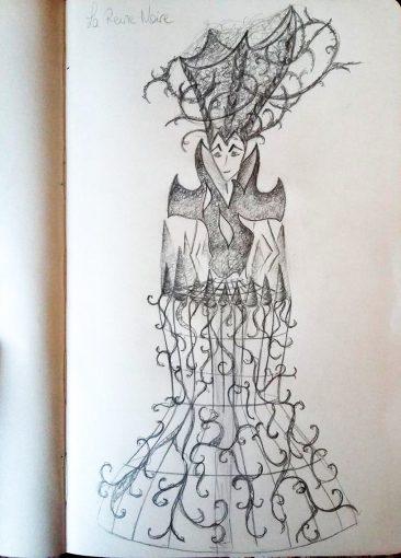 Croquis de la reine noir dessin illustration EMJAINARIUM par Free Spirit et la costumière Fraise au loup costume